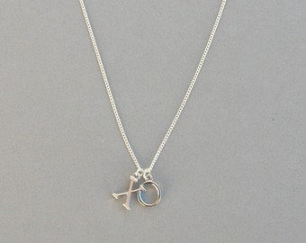 Silver Plated Hug and Kiss Necklace