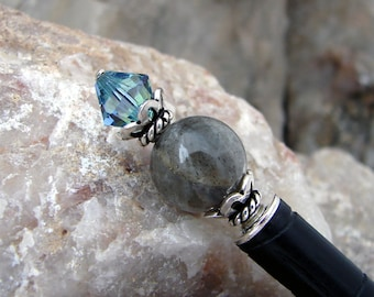 Hair Stick Grey Labradorite Gemstone and Sterling Silver Kanzashi Hair Pin Swarovski Crystal Japanese Stone Hair Pic Hair Chopstick - Jilene