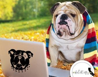 Bulldog Decal, Vinyl Decal, Dog Silhouette, Laptop Decal, Laptop Sticker, Car Decal, Window Decal, Iphone Sticker, English Bulldog