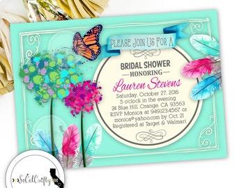 Bridal Shower Invitation, Boho Invite, Bohemian, Butterfly Invitation, Feathers, Monarch, Floral, DIY, Digital or Printed Invitation