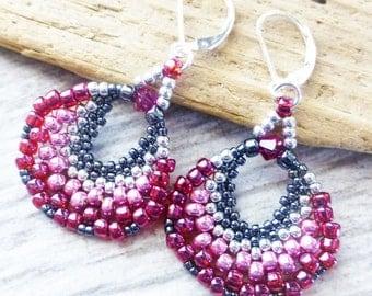 Beaded Earrings, Berry Red Earrings, Pink Earrings, Beadwork Earrings, Swarovski Crystal Earrings, Fuchsia Earrings, Gift for Her