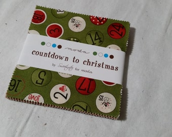 """Countdown to Christmas charm pack - 5"""" squares - Christmas/winter/holiday - OOP VHTF - sweetwater"""