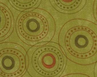 Adoring fabric - Moda - circles on green - Christmas fabric - OOP/HTF