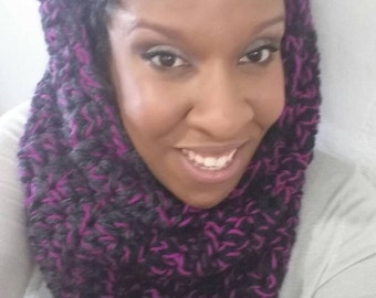 Chunky Cowl Scarf Magneto Magenta  neckwarmer  from the {twisted Sister} collection pink scarf gray scarf