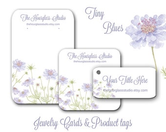 Custom Earring Cards, Jewelry Cards, Necklace Tags, Product Tags, Thank You Cards, Cottage Chic, Blue flowers, Jewelry Display