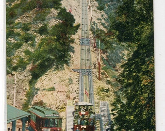 Mt Lowe Incline Railroad Streetcar Los Angeles California 1910c postcard