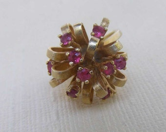 Vintage 14K Gold Modernist Ring, Satellite Ribbon Atomic Age Ring, 14K Gold Ruby Red Cluster Ring  4.5