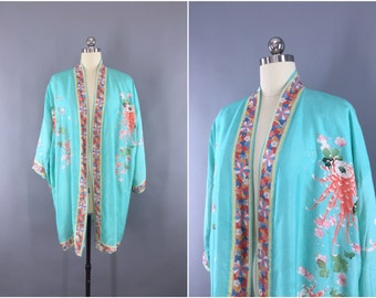 Vintage 1920s Silk Kimono Robe / Silk Robe / 20s Silk Wrapper / Flapper Dressing Gown / 1920 Art Deco Chinoiserie / Aqua Blue Floral Print