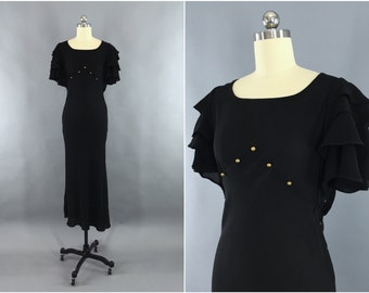 Vintage 1930s Dress / 30s Bias Cut Dress / Black Crepe Maxi Dress / 1930 Evening Gown / Old Hollywood
