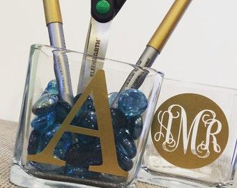 Cosmetic Organizer Makeup Brush Holders Makeup Organizer  Vanity Jars Makeup Brush Cup Bathroom Organizer Cosmetic Brush Organizer Monogram
