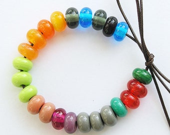 Lampwork Glass Donuts Beads, FREE SHIPPING, Multicolor Glass Spacers Beads - Rachelcartglass
