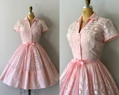RESERVED LISTING -- Vintage 1950s Dress - 50s Pale Pink Embroidered Cotton Dress