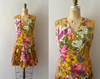 1960s Vintage Dress - 60s Fall Floral Scooter Dress