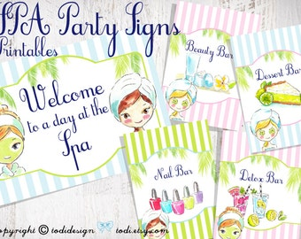 SPA Party Printables - INSTANT DOWNLOAD -  Party Signs