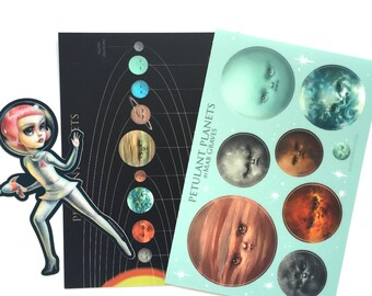 Petulant Planets and Astro Girl stickers and print set - Space Astronaut Love by Mab Graves