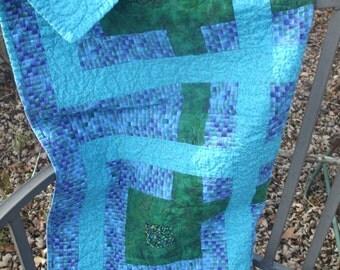 Wheelchair Lap Quilt, Baby Quilt, Quilted Wallhanging, Blue, Turquoise, Dark Green, Pram, Stroller Quilt
