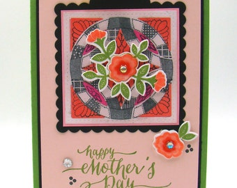 """Mother's Day Circle Quilt With Flowers Handmade Card 5"""" x 7"""""""