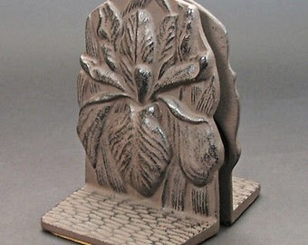 Japanese Cast Iron Bookends - Iris Flowers