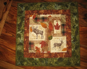 Moose and Deer Quilted Table Topper, Cabin Rustic Mountain Wall Hanging, Cabin Fever Plaid Leaves, Man Cave Decor, Gift for Men