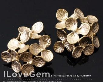 NP-1791 Matt Gold Plated, 6 Flower, Big Earrings, 925 sterling silver post, 2pcs