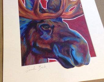 Moose Art Print Colourful woodland animal painting 11x14 mat Pop Art Moose Cape Breton Moose nature wall art Blue Moose