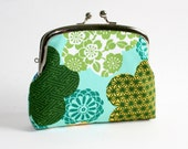 Double Frame Purse with Green, Yellow and White Asian Flowers