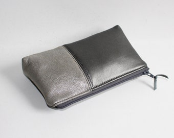 Small Leather Pouch. Leather Bag. Leather Make-Up Bag. Leather Cosmetic Bag in Gray and Silver