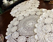 3 Large Crochet Doilies, Vintage Knit Doily, White Handmade Crocheted Doily Lot 13675