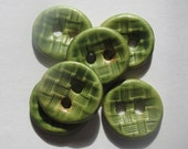 Reserved for Doreen Bright Lichen Green Basketweave Ceramic Buttons