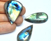 Labradorite, Natural Gemstones, Tear Drop Cabochons, Flat Back, Jewelry Supply - 3 pcs Parcel - 32.0-34.3 mm - 91.1 ct - 160531-25