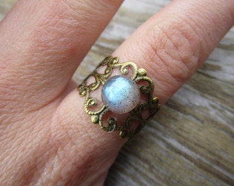 Boho Labradorite Brass Ring Faceted Gemstone Adjustable Size