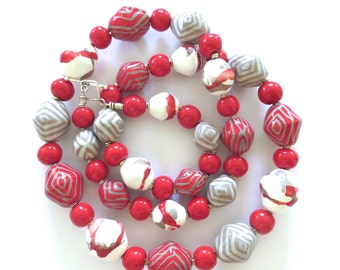 Kazuri Bead Necklace, Red Grey and White Ceramic Necklace, Statement Necklace
