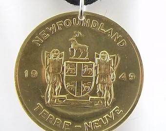 Newfoundland Token Necklace, Commemorative, Mens Necklace, Womens Necklace, Coin Pendant, Leather Cord, Canada