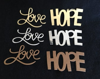 Love Hope Cardstock Stickers-Illustrated Art Faith-Gold Silver Kraft Colored Cardstock- Adhesive Backed Stickers-Bible Art Journaling