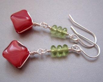 Peach Glass Earrings, Czech Glass Earrings, Green Glass Earrings, Silver Tone Earrings, Dangle Coral Earrings Wire Wrapped Earrings