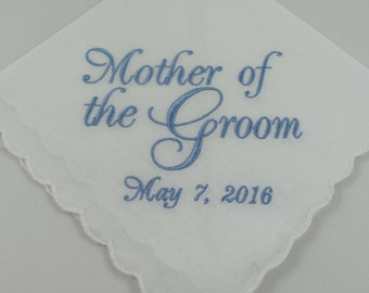 Mother of the Groom - Embroidered Handkerchief - Wedding Gift - Simply Sweet Hankies