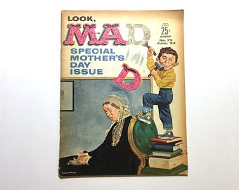 MAD Magazine 1963 June Issue Mother's Day Special - JFK Satire Months Before Assassination - Funny Stuff - Vintage Satirical Mag - 1960s