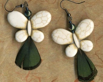 Butterfly Earrings - White Earrings with Peacock Feather - Feather Earrings -  ABS Beads - R47