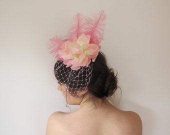 Handmade In Australia Pink Flower and Ostrich Feather Victorian Inspired Teardrop Fascinator Cap Hat Headpiece Races Dressup