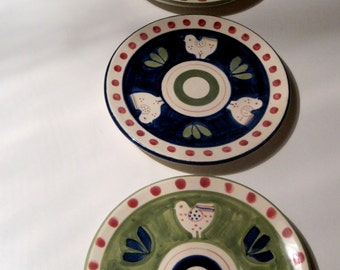 Vintage Hand Painted French Hen and Polka Dots Plates made in France     Set of Three