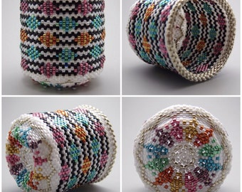 Quilt pattern basket - beaded basket - collectible basket - bead art - seed bead art - beadweaving - beadwoven basket - art basket