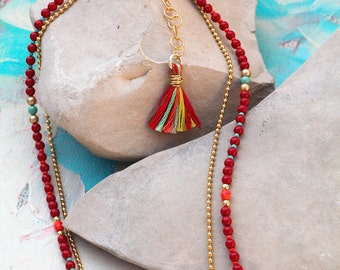 Beaded Stand Necklace In Red and Gold