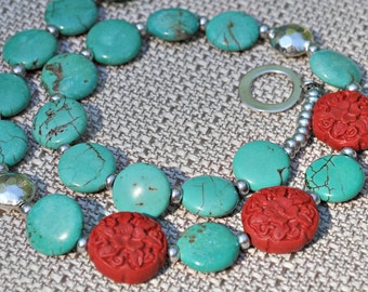 Red Cinnabar Blue Turquoise Silver Coin Necklace
