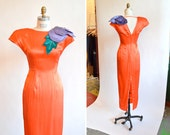 Vintage 1960s COUTURE silk evening gown