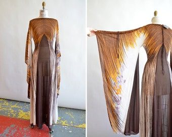 Vintage 1970s made in ITALY chiffon dress with HUGE angel sleeves