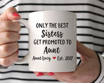 Pregnancy Announcement for Aunt Gift Aunt Mug Pregnancy Reveal Sister New Aunt Gift Personalized Pregnancy Announcement Aunt Coffee Mug Red