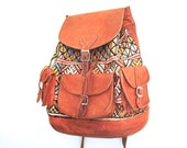 Amazing woven tapestry and leather backpack, DISCOUNTED