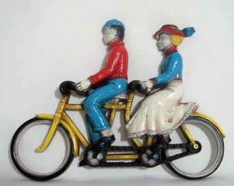 Bicycle Built for Two Homco Tandem Bike Wall Decor Vintage Plaque 1975