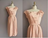 Emma Domb 50s pink satin vintage wiggle dress / vintage 1950s dress