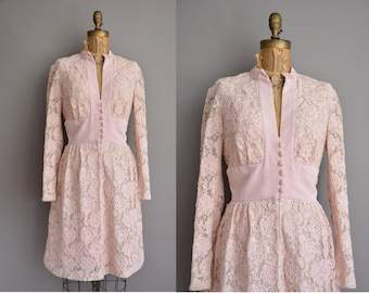 50s Miss Elliette pink ribbon lace vintage dress / vintage 1950s dress